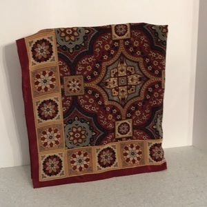 Pure silk scarf Burgundy red & gold print square